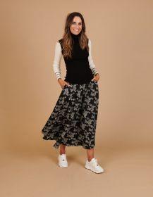 Zwarte lange rok met grijze print Caroline Biss