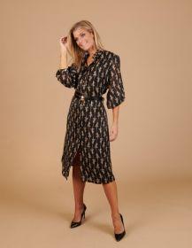 Zwart hemdkleed met hagedissenprint Caroline Biss