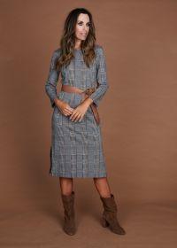 Grijs - bruin geruit kleed Caroline Biss