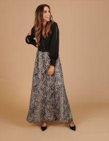 Zwart lang kleed met dierenprint onderaan Linea Raffaelli