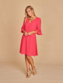 Fuchsia kleed met strik op mouw Linea Raffaelli