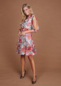 Kleed met oranje print en split in mouw Linea Raffaelli