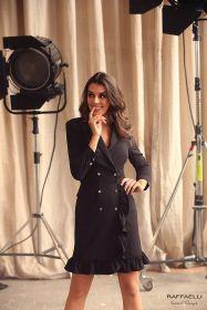Zwart kleed met sterrenknoppen Linea Raffaelli