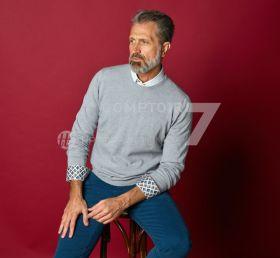 Wit hemd met multicolor ruitenprint in kraag en manchette R2 Amsterdam
