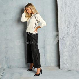 Zwarte wijde broek met krijtstreep D.exterior