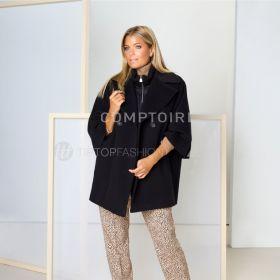 Zwarte oversized mantel Cinzia Rocca