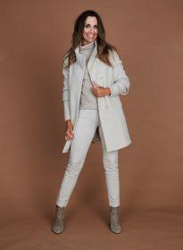 Beige mantel met tricot aan mouw Cinzia Rocca