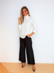 Bruine lederloon broek model Palina Raffaello Rossi