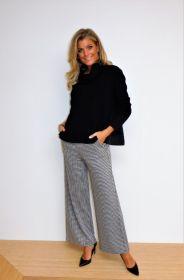 Zwart ecru pied de poule broek model Palina Raffaello Rossi
