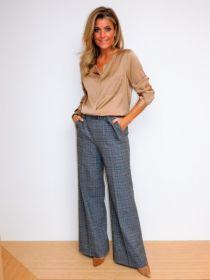 Grijze, wijde, lange geruite broek model Anais Raffaello Rossi