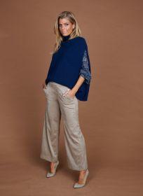 Beige wijde daim-look broek model Palina Raffaello Rossi