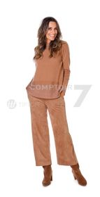 Camel wijde daim-look broek model Palina Raffaello Rossi