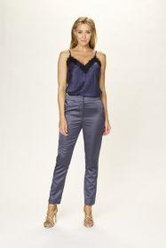 Grijsblauwe broek in glanzende stof Due Amanti