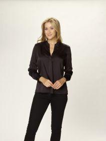 Zwarte V-hals bloes met split op rug Due Amanti
