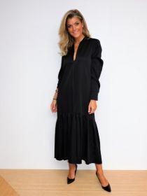 Zwart lang V-hals kleed met volant Due Amanti