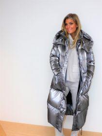 Zilveren lange jas Duno