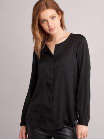 Zwarte zijden bloes met borstzak en lange mouw Repeat