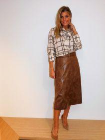 Ecru bloes met strik en beige ruit in kabelprint Riani