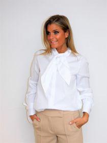 Witte bloes met strik aan hals en mouwen Riani