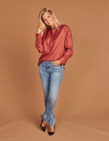 Oranje bloes met blauwe print Rosso 35