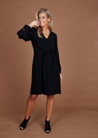 Zwart V-hals kleed met lint in taille Rosso 35