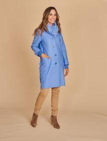 Lichtblauwe mantel met tricot afwerking in rug Rosso 35