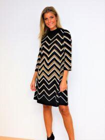 Zwart - gouden zigzag kleed Twinset