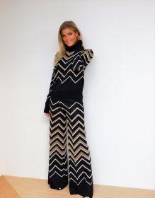 Zwart - gouden broek met zigzag Twinset