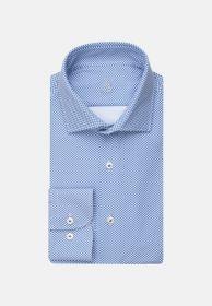 Lichtblauw hemd met bollenprint Slim fit Jacques Britt