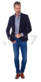 Blauw wit geruit hemd, custom fit, Jaques Britt