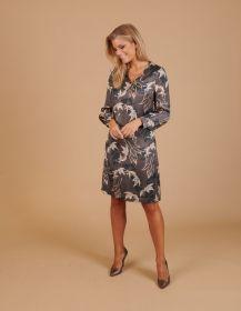 Grijs V-hals kleed met bladerenprint Blue Bay