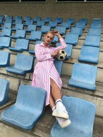 Roze blauw lang gestreept hemdkleed Lee and Me