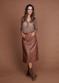 Bruine bloes met dierenprint Blue Bay