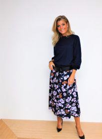 Blauwe rok met lila bloemenprint Senso