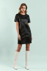Zwart lederlook kleed Senso