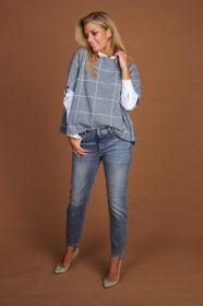 Grijze jeans model Jane met hartjesfantasie aan zak Raffaello Rossi