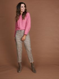 Beige broek met camel, gele, roze en zwarte ruit Riani