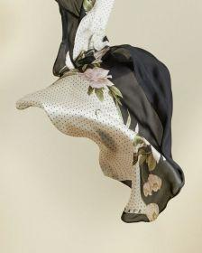 Ecru zwarte sjaal met bloemenprint Ted Baker