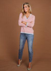 Roze V-hals pull met grijze boord Phil & Wee