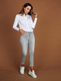 Witte bloes met grijze accenten Margittes