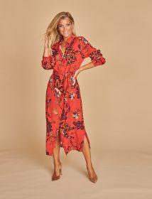 Rood hemdkleed met camel - paarsblauwe print Amania Mo