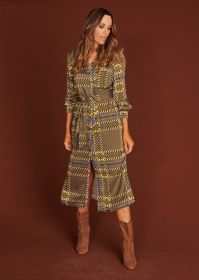 Kaki kleed met okerkleurige ruit Amania Mo