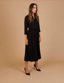 Zwart hemdkleed met plissé onderaan Amania Mo