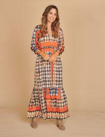 Multicolor - aardetinten lang kleed Mucho Gusto