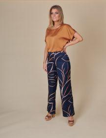 Blauwe broek met camel print Amania Mo