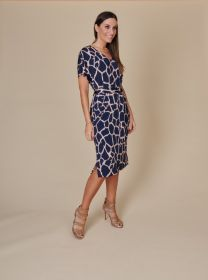 Blauw V-hals kleed met beige print en riem Amania Mo