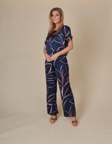 Blauwe bloes met camel print Amania Mo