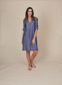 Blauw gestreept kleed Amania Mo