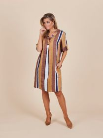 Gestreept kleed in aardetinten Amania Mo
