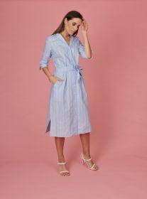 Lichtblauw gestreept lang hemdkleed met riem Amania Mo